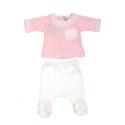 V8166-Pijama de algodón dos piezas rosa