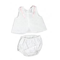 5747-Vestido de seda Blanco-Rosa