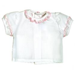 5955-Camisa MC de batista con bordado rosa