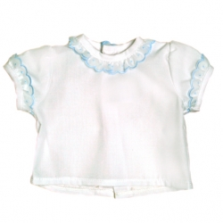 5955-Camisa MC de batista con bordado azul