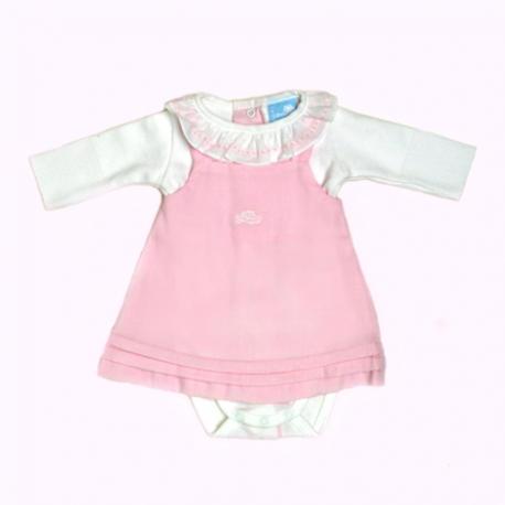 I7151-Vestido de algodón rosa con body blanco