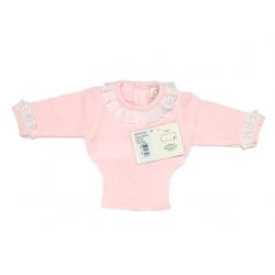 Jersey de perlé ML Rosa-Bco con cuello de batista