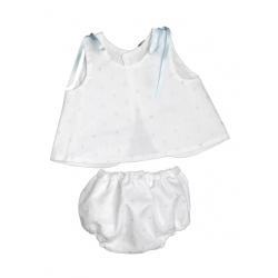 5747-Vestido de seda Blanco-Azul