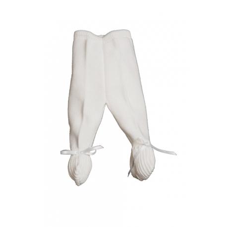 E-018-Polainas de perlé con cinta de raso Bco