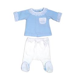 V8166-Pijama de algodón dos piezas azul