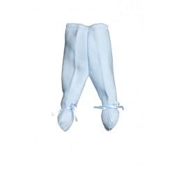 E-018-Polainas de perlé con cinta de raso azúl