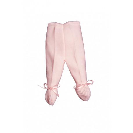 E-018-Polainas de perlé con cinta de raso rosa