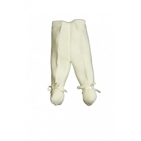 E-018-Polainas de perlé con cinta de raso marfil