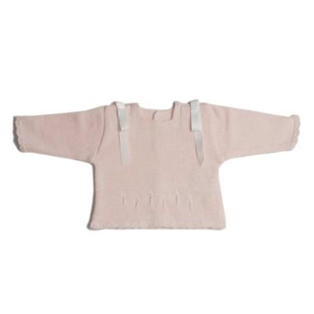Jersey de perlé ML Rosa-Bco bordados Bco