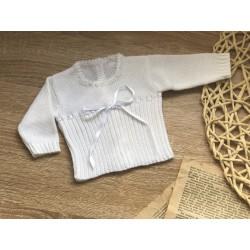 Jersey de perlé Bco con cinta de raso