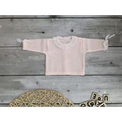 Jersey de perlé con puntilla Rosa-Blanco