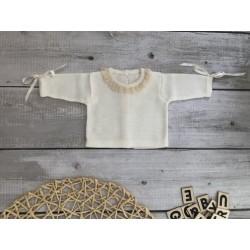 Jersey de perlé Marfil-Beige con puntilla